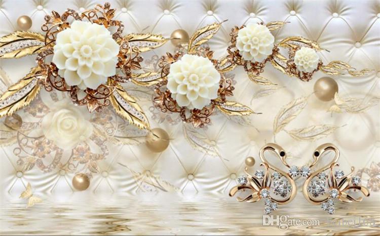 Custom Photo Wallpaper 3D Fresco Wall Sticker 3d Luxury Gold White Flower Soft Bag Globe Jewelry TV Background Wall