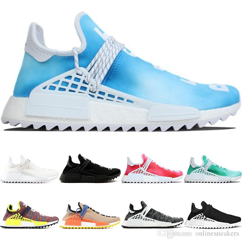 f3b36bd63d7bc 2019 Human Race Trail Running Shoes Men Women Pharrell Williams HU Runner  Nerd Black White Peace Passion Younth Casual Sports Sneakers Size 5 12 From  ...