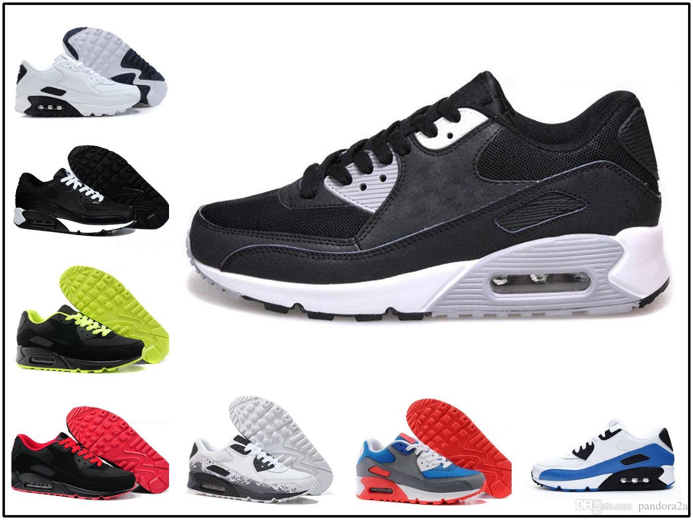 lowest price f1688 b69f5 Acquista Nike Air Max 90 Airmax Vendita Calda A Buon Mercato Sneakers Scarpe  Maxes 90 Uomini E Donne Scarpe Da Corsa Tutto Nero Bianco Sport Traspirante  ...