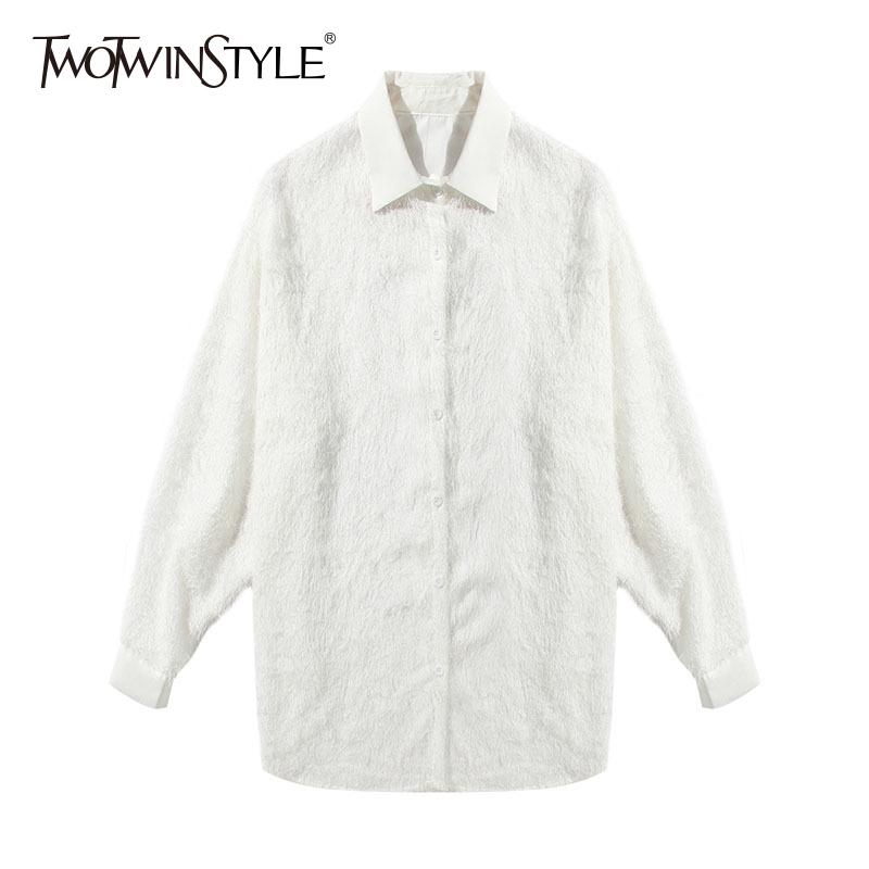 3344880420f62d 2019 TWOTWINSTYLE Tassel Blouse Female Lapel Collar Long Sleeve Spring  Basic White Shirt For Women Fashion OL Big Size Clothing From Luweiha, ...