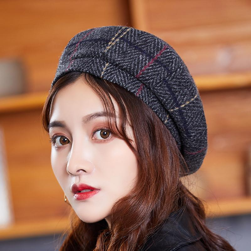 2745b034dc8e9b 2019 French Painter Hat Houndstooth Womens Casual Khaki Plaid Flat Cap  Vintage Spring Autumn Elegant Ladies Beret Hats From Gocan, $35.07 |  DHgate.Com