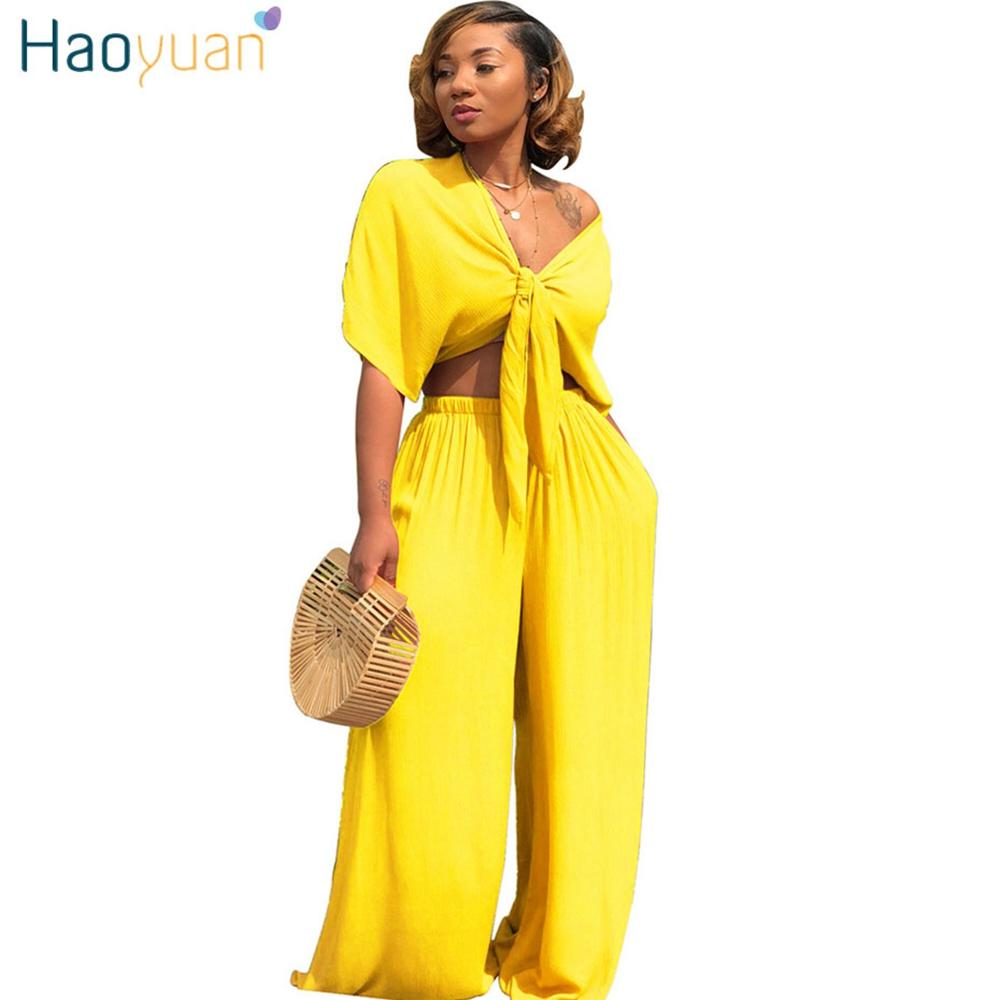 9c106820c8 HAOYUAN Sexy Two Piece Set Women Clothes V Neck Bow Tie Crop Top+Loose Wide  Leg Pant Suit Summer Outfit 2 Piece Casual Tracksuit