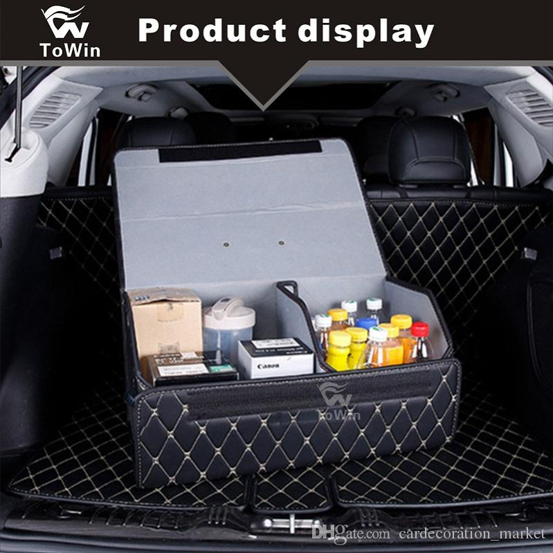 Car Trunk Storage >> Car Trunk Box Folding Car Trunk Storage Organizer Pu Leather High Capacity Stowing Tidying Interior Accessories 3 Storage Boxes