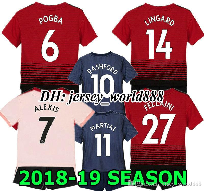 93bbd8ade LINGARD ALEXIS 18 19 Kids Red Home Away Pink Soccer Jersey Kits 3RD Blue  LUKAKU MATA MARTIAL IBRAHIMOVIC POGBA RASHFORD Child Football Shirt Jerseys  Soccer ...