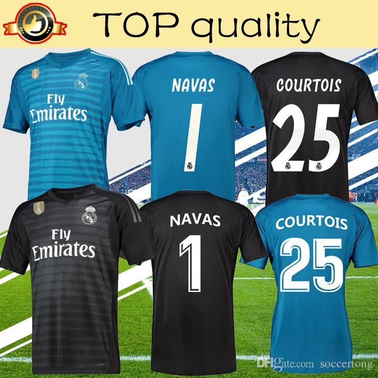 d241ab6e4a Compre Top Qualidade 2019 Reais Madrid Goalie Camisas De Futebol 18 19  NAVAS COURTOIS Camisa De Futebol Goleiro Desgaste Do Esporte Azul Camisa De  Futebol ...