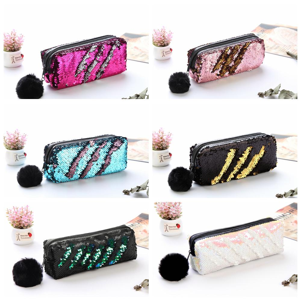 f7e324ffc774 6styles Sequin Pencil Pen Storage bag plush Fur Ball Cosmetic Coin Purse  Makeup Pouch Glitter Stationery Pencil Case Holder Wallet FFA1300