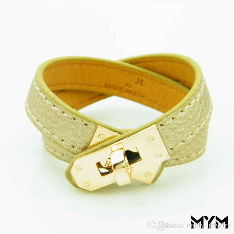 Vintage Multicamadas Pu Couro H Pulseiras para as mulheres Cuff bangles Men ouro fivela Pulseira Pulseras Hombre Acessórios Masculinos Jóias