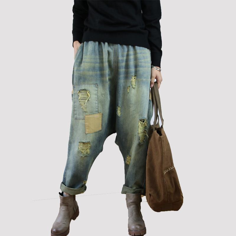 ASYMSAY 2017 New Elastic Waist Loose Leg Casual Denim Cross Pants ... 1734ea0238ad