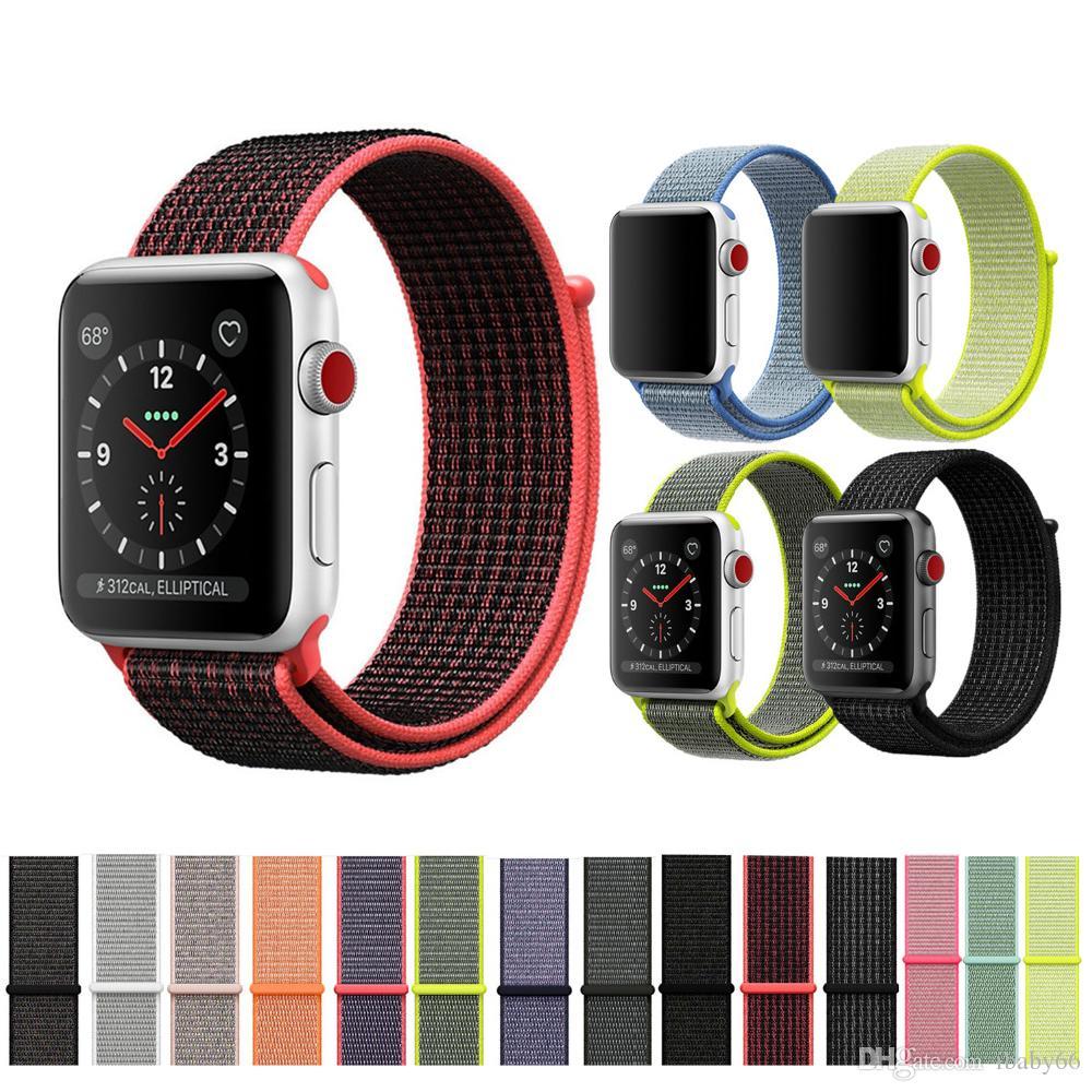 b32845bf825 Compre Laço De Esporte Para A Apple Watch Banda 42mm 38mm IWatch 3 2 1  Pulseira De Relógio De Nylon Pulseira Pulseira De Gancho And Loop Fecho De  Fecho De ...