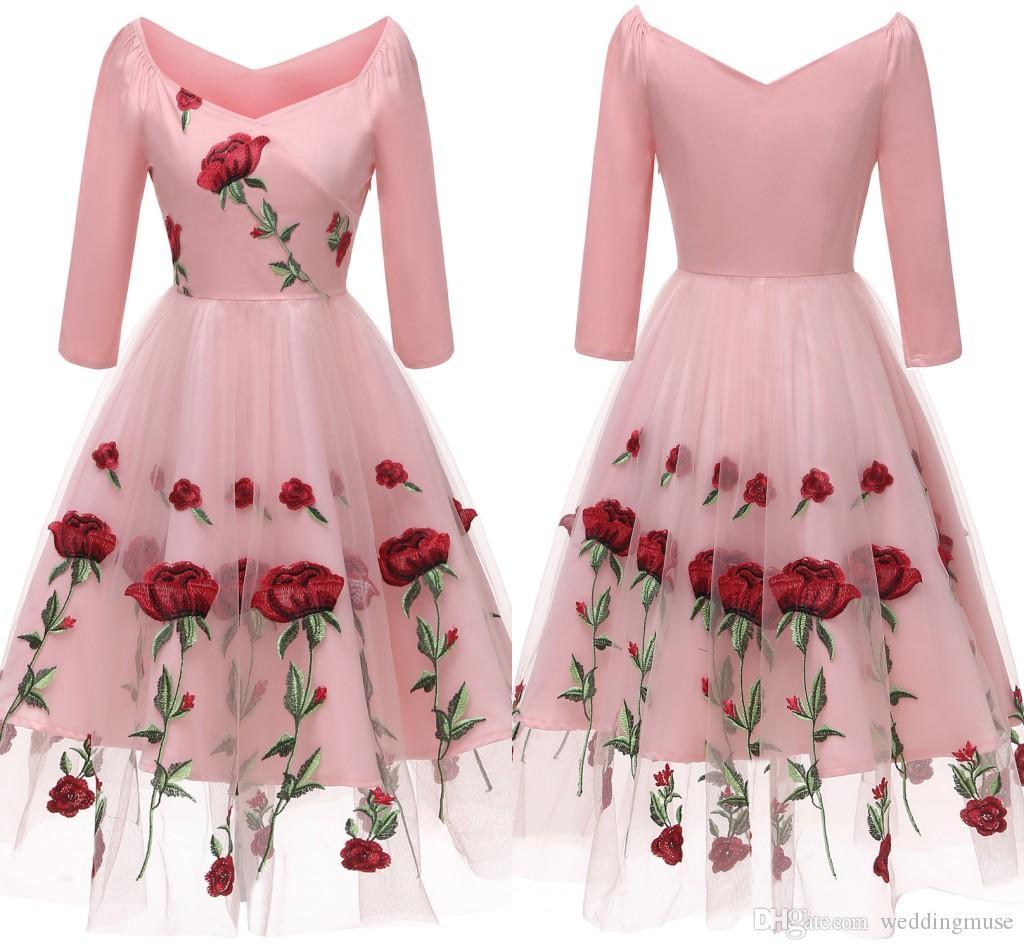 e58c290841f Vintage Short Prom Dresses Embroidery Rose Flower A Line 3 4 Sleeve Formal Homecoming  Dresses Knee Length Evening Wear Dark Blue Prom Dresses Dress For Prom ...
