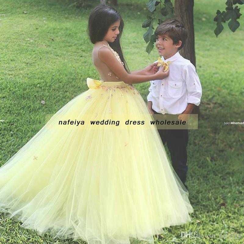 Ball Gown Said Mhamad TuTu Flowers Girls Dresses Little Girl Patterns Mother and Daughter Dress Gowns A-Line Crew Neck Yellow Partys
