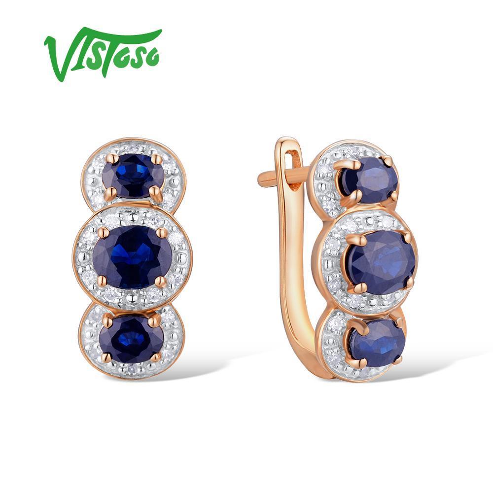 b4fce94944b3 Compre VISTOSO Pendientes De Oro Para Mujeres 14K 585 Oro Rosa Brillante  Azul Zafiro Banda De Bodas De Diamante De Compromiso Lujo Joyería Fina A   1218.78 ...