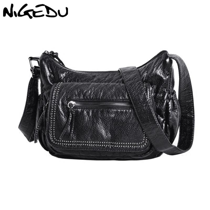 546c16d5ac2d Messenger Bags For Women Shoulder Bags Soft Washed PU Leather Crossbody  Large Fashion Rivet Female Purses And Handbag Black Handbags For Women  Wholesale ...