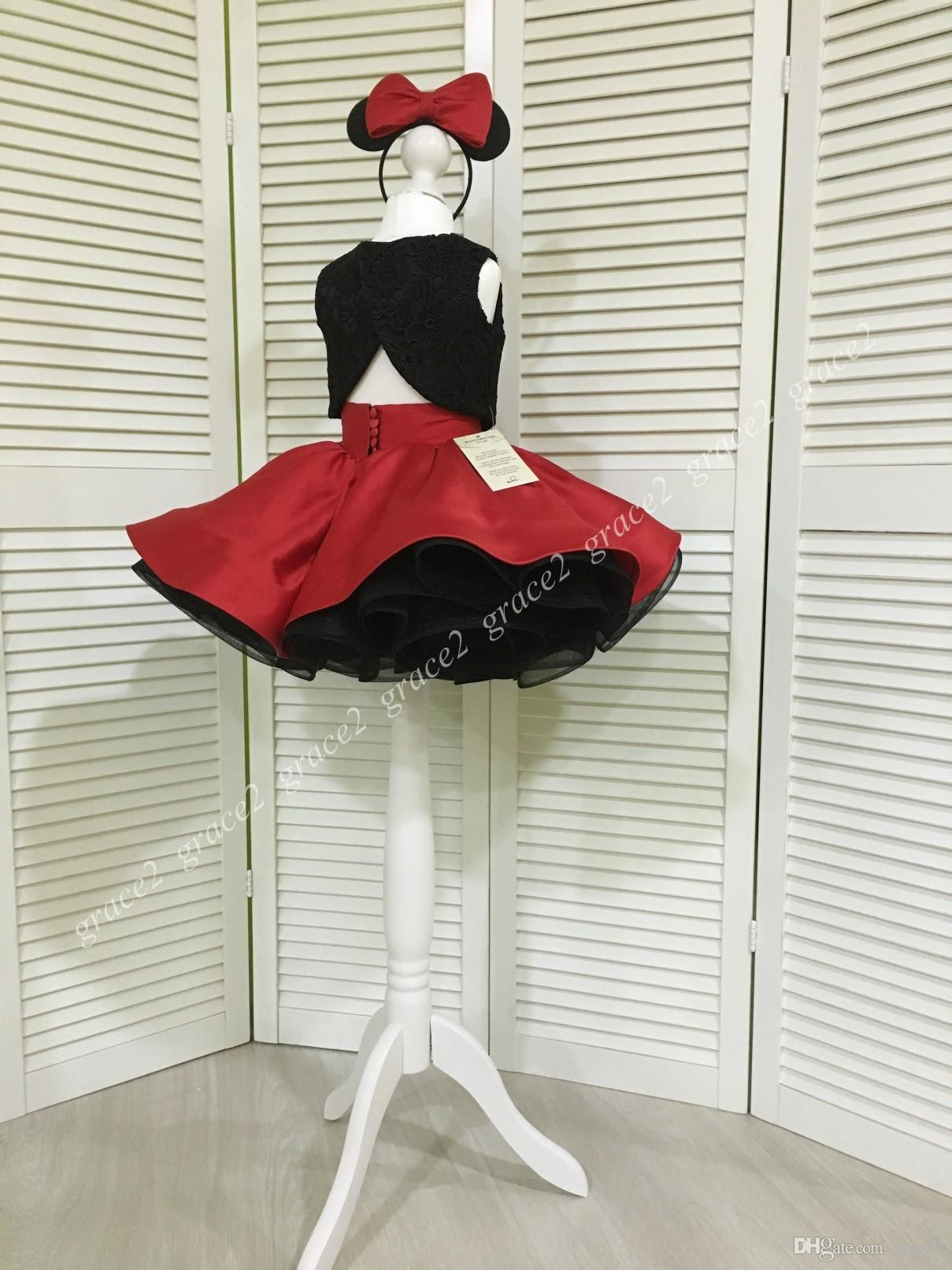 Black/Red Girls Pageant Dresses 2018 Lace Bodice & Red Satin Skirt Real Pictures Cupcake Glitz Baby Formal Event Party Dress