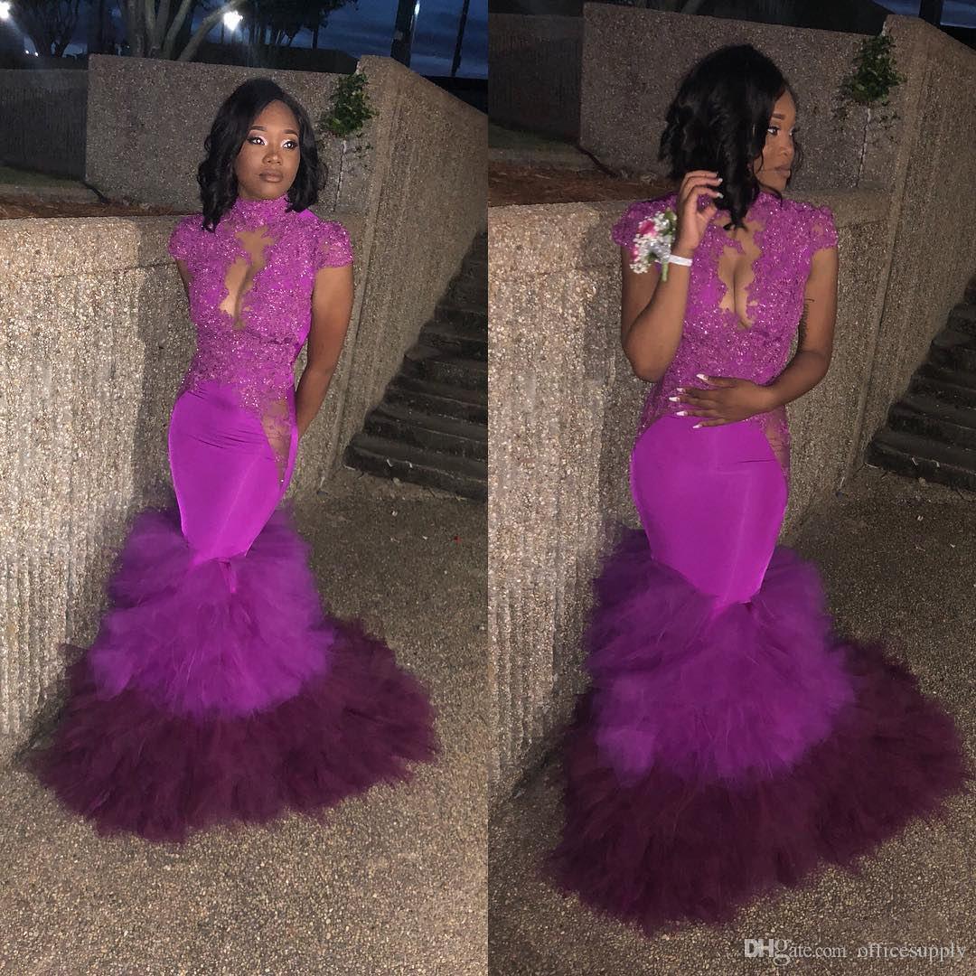 Sexy Fuchsia Mermaid Prom Dresses For Black Girl 2018 Beading ...