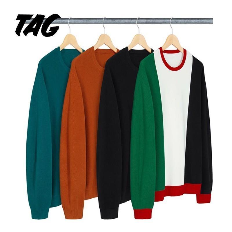 706b025827b1 18FW Box Logo Classic Long Sleeve Patchwork Solid Sweatshirt Solid ...