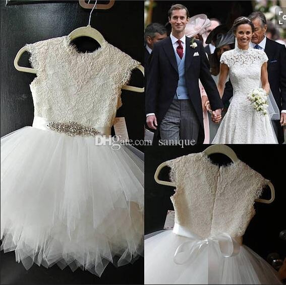 1038822c4 Ivory Lace With White Tulle Skirt Cap Sleeves Rhinestone Sash Birthday  Wedding Party Holiday Bridesmaid Girl Pageant Dresses Princess Dresses For  Toddlers ...