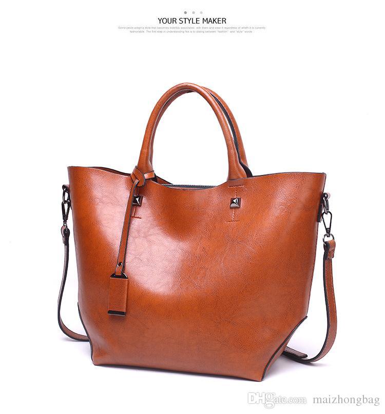 2018 ladies handbag large big shoulder bag for women Brand designer Tote bag Oil Wax leather Travel bag