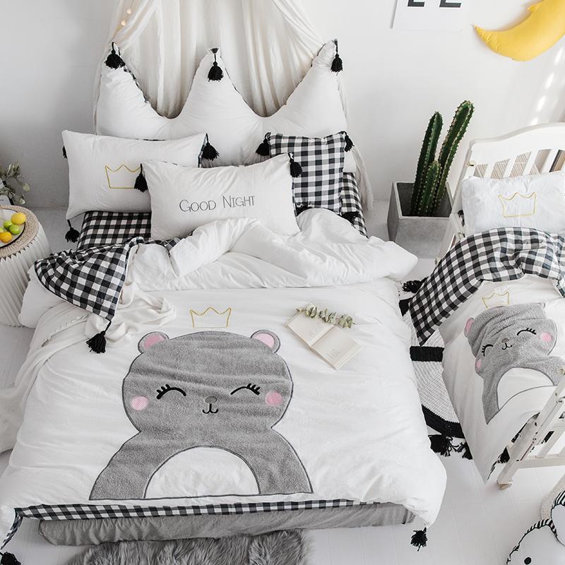100 Cotton Cute Cartoon White Black Bedding Set Girls Queen King