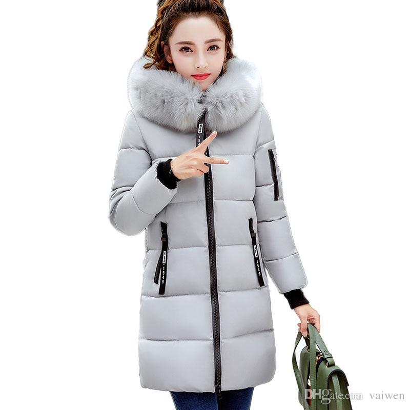 05aaed777024 2019 Fur Collar Warm Cotton Jacket New 2017 Winter Women Coats Long Section Thicker  Hooded Parkas Female Feather Padded OuterwearXC64 From Vaiwen, ...