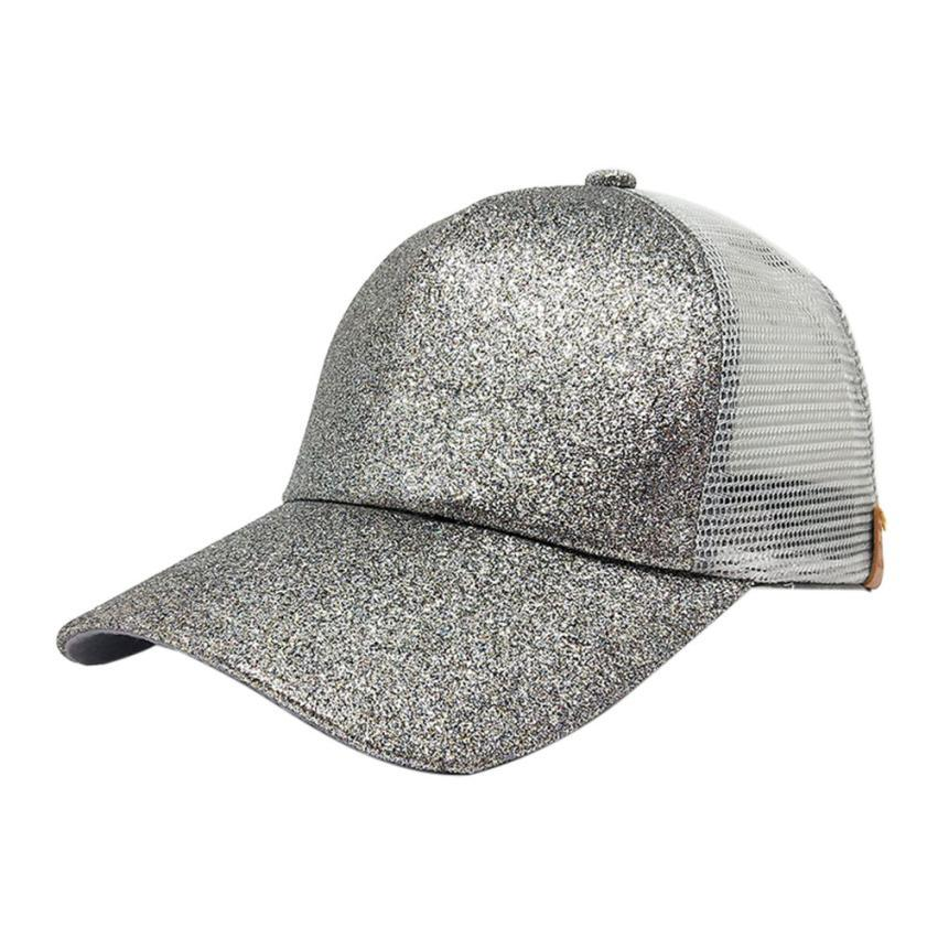 b9395daf8ff 2018 Fashion Women Ponytail Baseball Cap Sequins Shiny Messy Bun ...