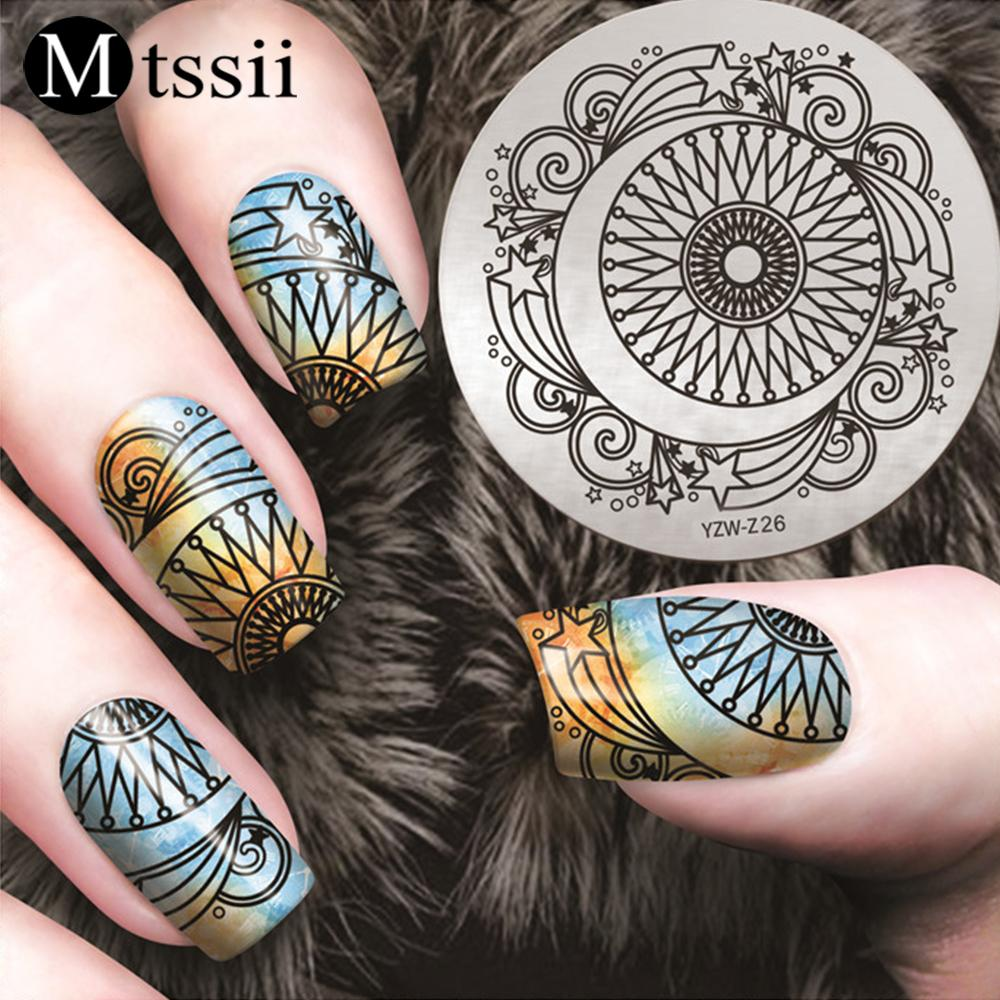Mtssii Silver Christmas Round Nail Stamping Template Christmas