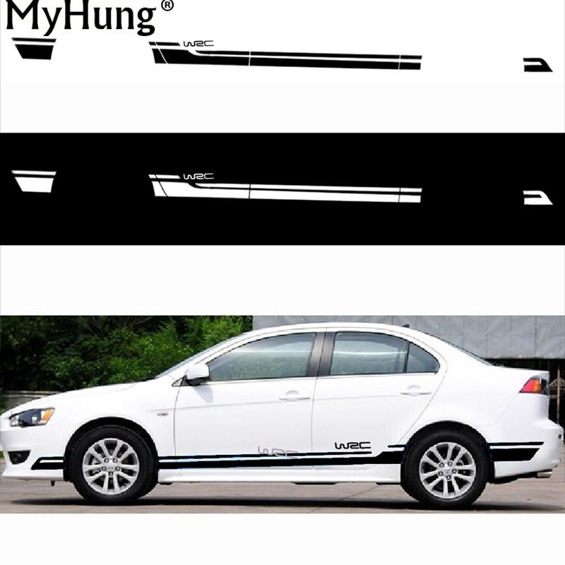 2018 wholesale racing car side skirt decor stickers and decals diy modified vinyl car styling for mitsubishi lancer wsc car styling decoration from out2244
