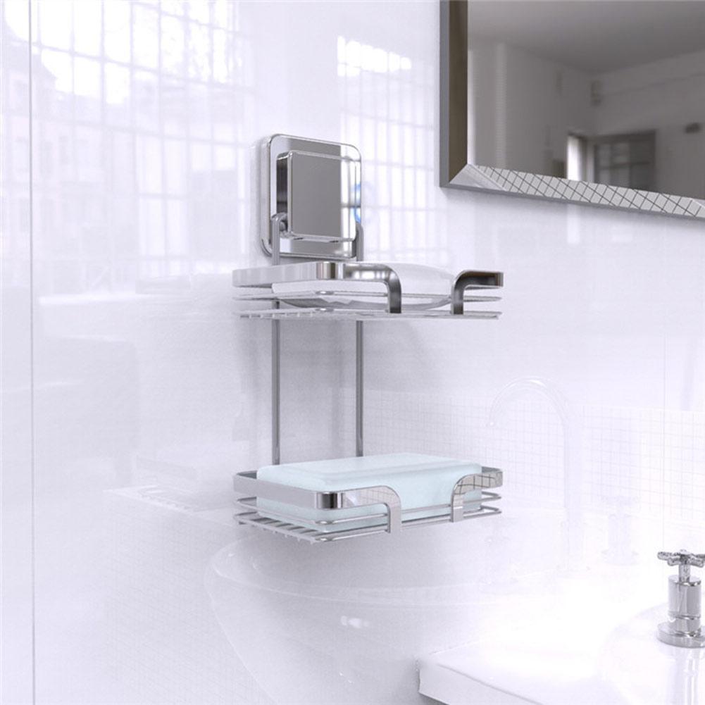 2 Tiers Seifenschalen für Badezimmer Küche Ecke Edelstahl Klebstoff Seife  Saver Halter Regale J2Y
