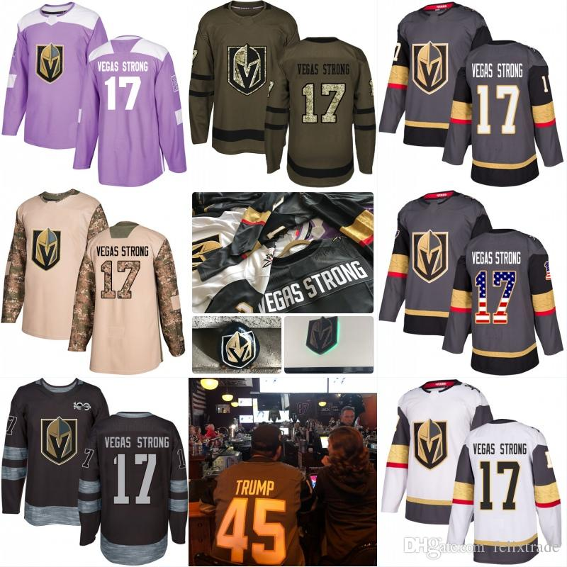 0b5c9f28b 2019 Vegas Strong  17 Golden Knights  45 TRUMP Stich Jersey 2017 18 Season  Home Away Camo Veterans Day Fights Cancer Purple American Flag Number From  ...