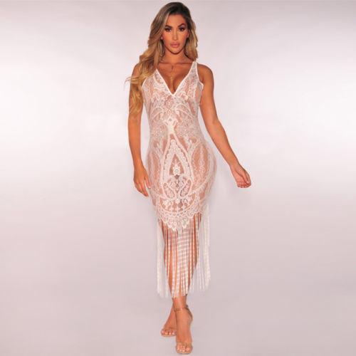 5b83eb18a3339 Free Shipping 2019 Sexy V neck Women Dress Lace Tassel Transparent Dress  For Women Summer Sleeveless dress D116