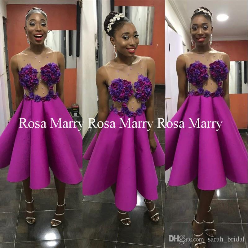 Compre Sexy 3d Floral Corto Vestidos De Baile Africanos 2018 Una ...