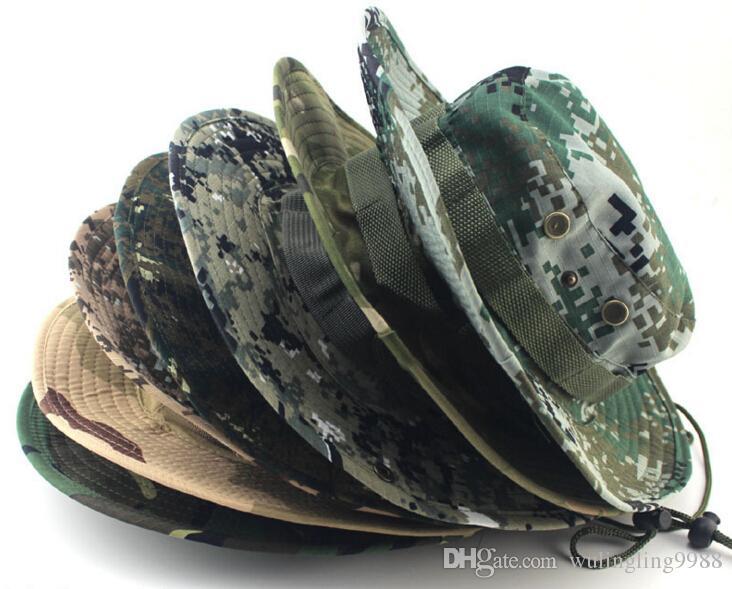 Cappello del secchio di cotone gli uomini Fashion Military Camouflage Cappelli del pescatore del pescatore con il cappello della secchiella del secchiello del pescatore del nero largo Cappello da caccia del campeggio