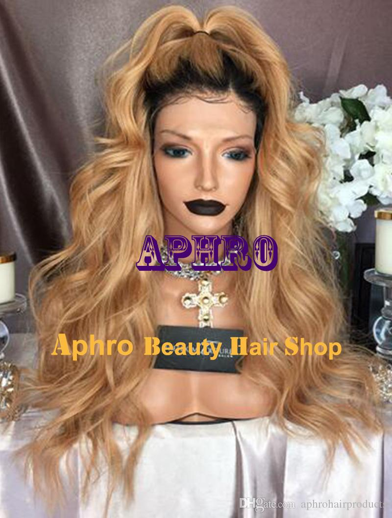 """Luxury Warm Blonde Virgin Brazilian Hair Glueless Full Lace Wigs 5""""x5"""" Silk 20""""-30"""" 180% Density Silk Top Dark Roots Blonde Ombre Lace Wigs"""