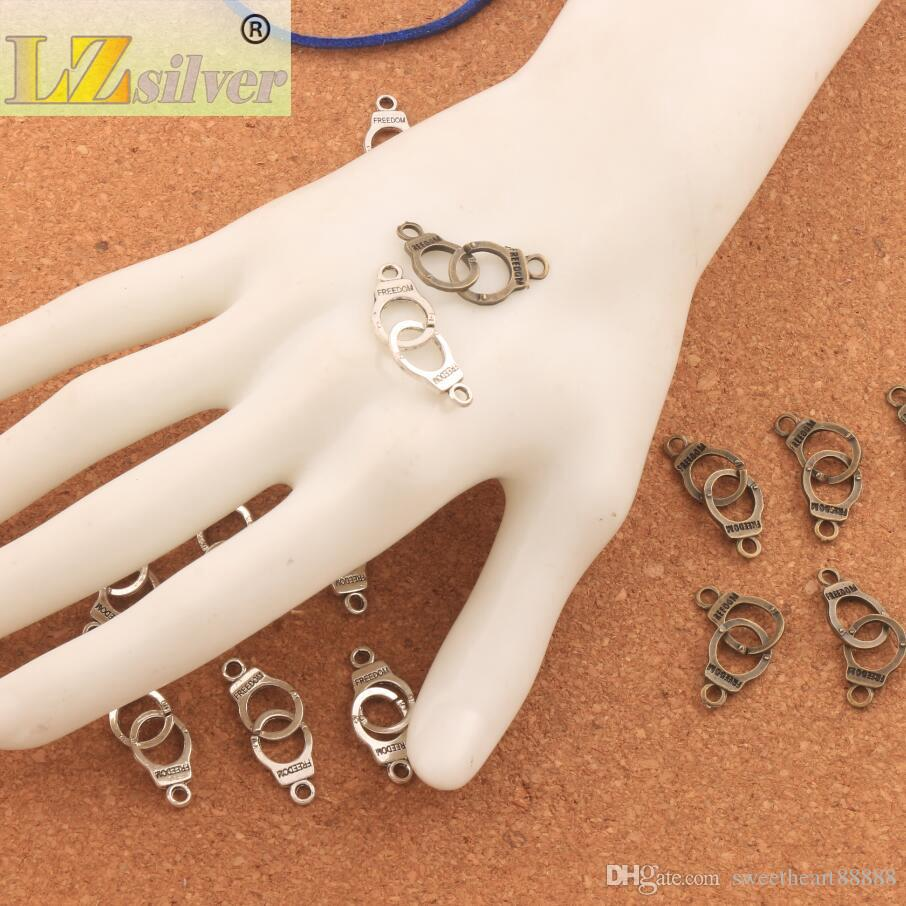 Handcuffs Freedom Connector Spacer Charm Beads Antique Silver/Bronze Pendants Alloy Handmade Jewelry DIY L243 31.7x10.2mm