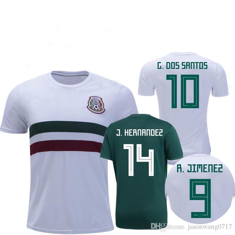 0bb83d3122a 2019 New 2018 Mexico Soccer Jersey Home 17 18 Green Away White CHICHARITO  Camisetas De Futbol H.LOZANO G.DOS SANTOS A.GUARDADO Football Shirts From  ...
