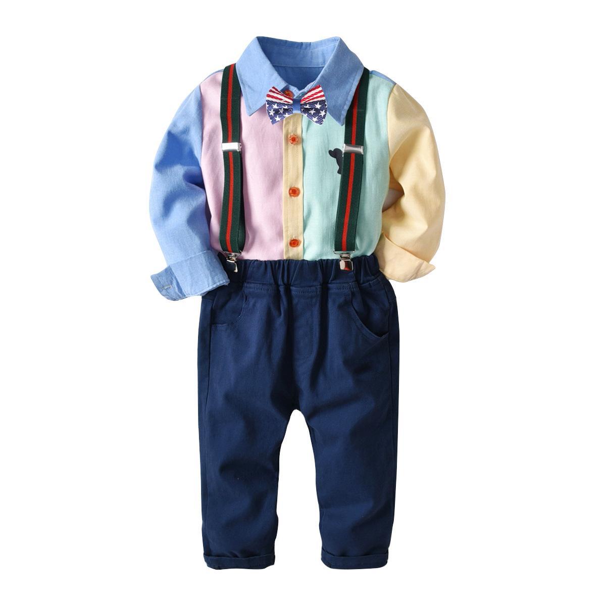 171144488368c Satın Al 2018 Çocuk Giyim Seti Beyefendi Erkek Uzun Kollu Kıyafet Suit  Gömlek Üst + Tulum Pantolon Çocuk Bebek Bebek Erkek Giysileri 1 7 Yıl, ...