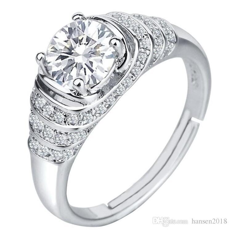 1 Ct Round Cut Topaze pour femme cadeau 925 Bande Argent Fête de mariage Anneau Ensembles Taille 4-9