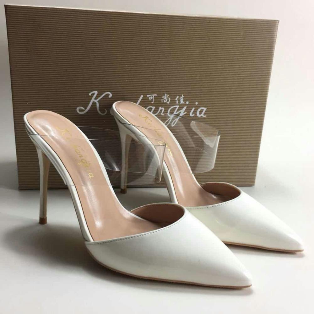 11a21f443c4 Acheter Keshangjia Grande Taille 35 44 Mules Mince Talon Femmes Chaussures  Femme Slip Sur Blanc Pompes Casual Bout Pointu Chaussures De Mode De  58.38  Du ...