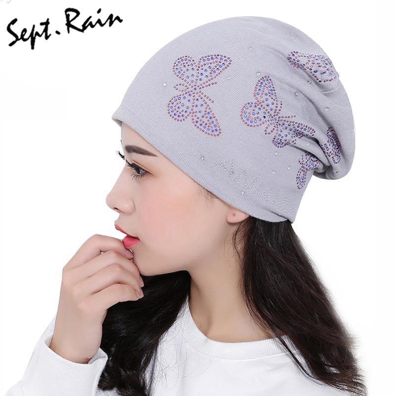 Fashion Autumn And Winter Beanies Diamond Turban Cap Skullies Hip ... be1cad39e3a6