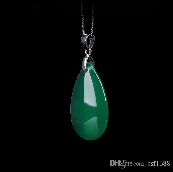 Colar de prata mulheres jóias de prata jóias de prata pingentes de jade atacado simples jóias acessórios