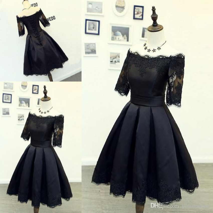 33c120d5633 Hot Black Lace Short Prom Dresses With Off The Shoulder Half Sleeves Lace  Appliques A Line Knee Length Evening Dresses Formal Gowns Long Sequin Prom  Dresses ...