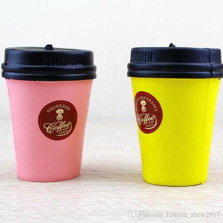 Jumbo 11 cm Kahve Fincanı Squishy Yavaş Yükselen Sevimli Telefon Askısı Kawaii Kolye Sıkı Ekmek Kek Dekompresyon Oyuncak