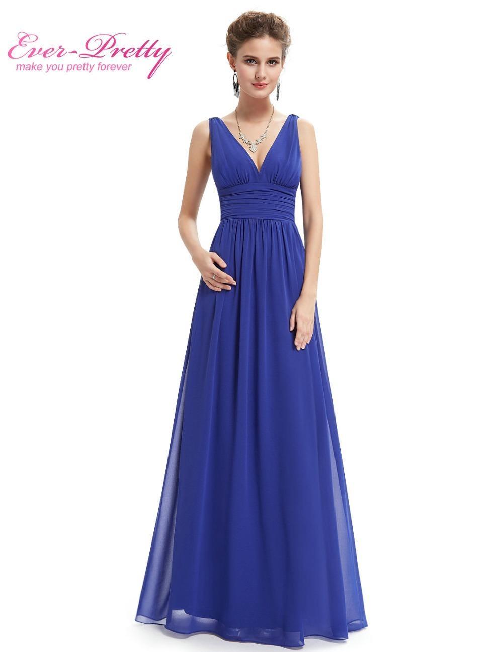 0f9ef73ac246 Acquista Prom Dresses 2019 Ever Pretty EP09016 Chiffon Abiti Occasioni  Speciali Con Scollo A V Elegante Royal Blue Abiti Lunghi Da Promenade Abiti  2018 ...