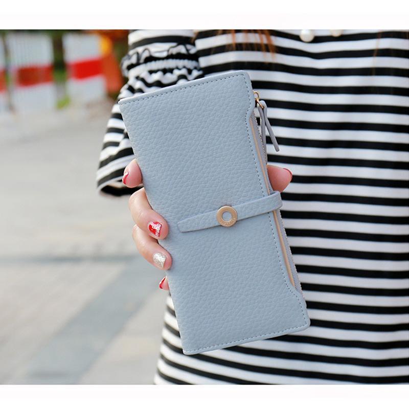 DIGERUI кошелек ovely кожа длинные женщины бумажник девушки изменить Застежка кошелек деньги монета держатели карт кошельки Carteras A1489