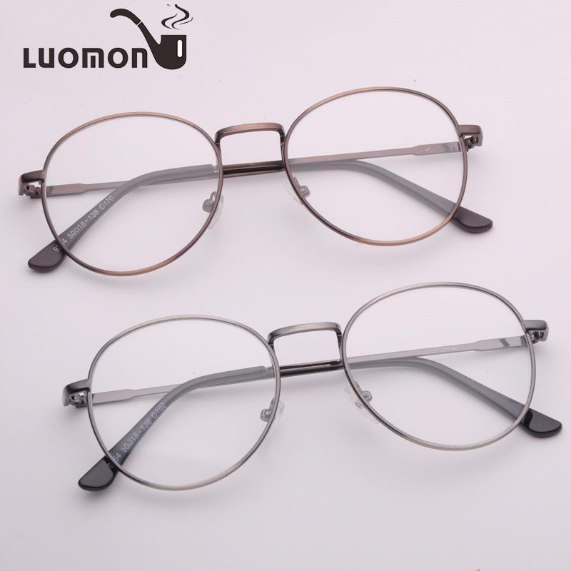 2018 Luomon Round Metal Eyeglasses Frames Myopic Optics Glasses ...