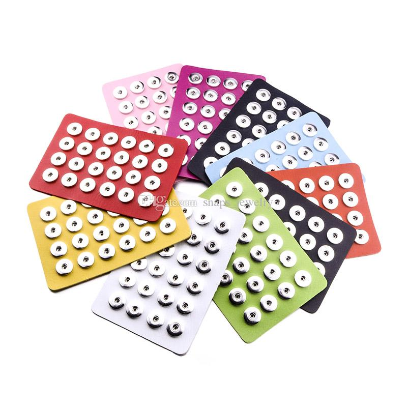 Noosa Snap Jewelry 18 / 12MM Snap Display 10 colores Black Leather Snap Display para 24/60 PCS Jewelry Display Holder