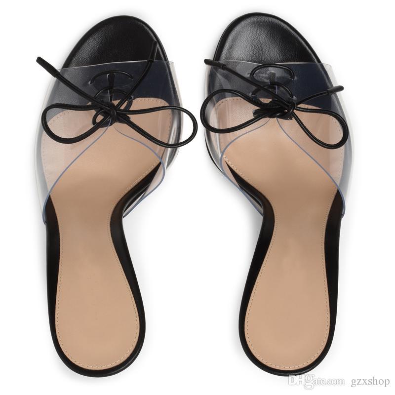 Seksi Yüksek Topuklar Ayakkabı Kadın PVC Peep Toe Gladyatör Sandalet Kadınlar Pompaları Lace Up Katır Terlik Plaj Flip Flop ...