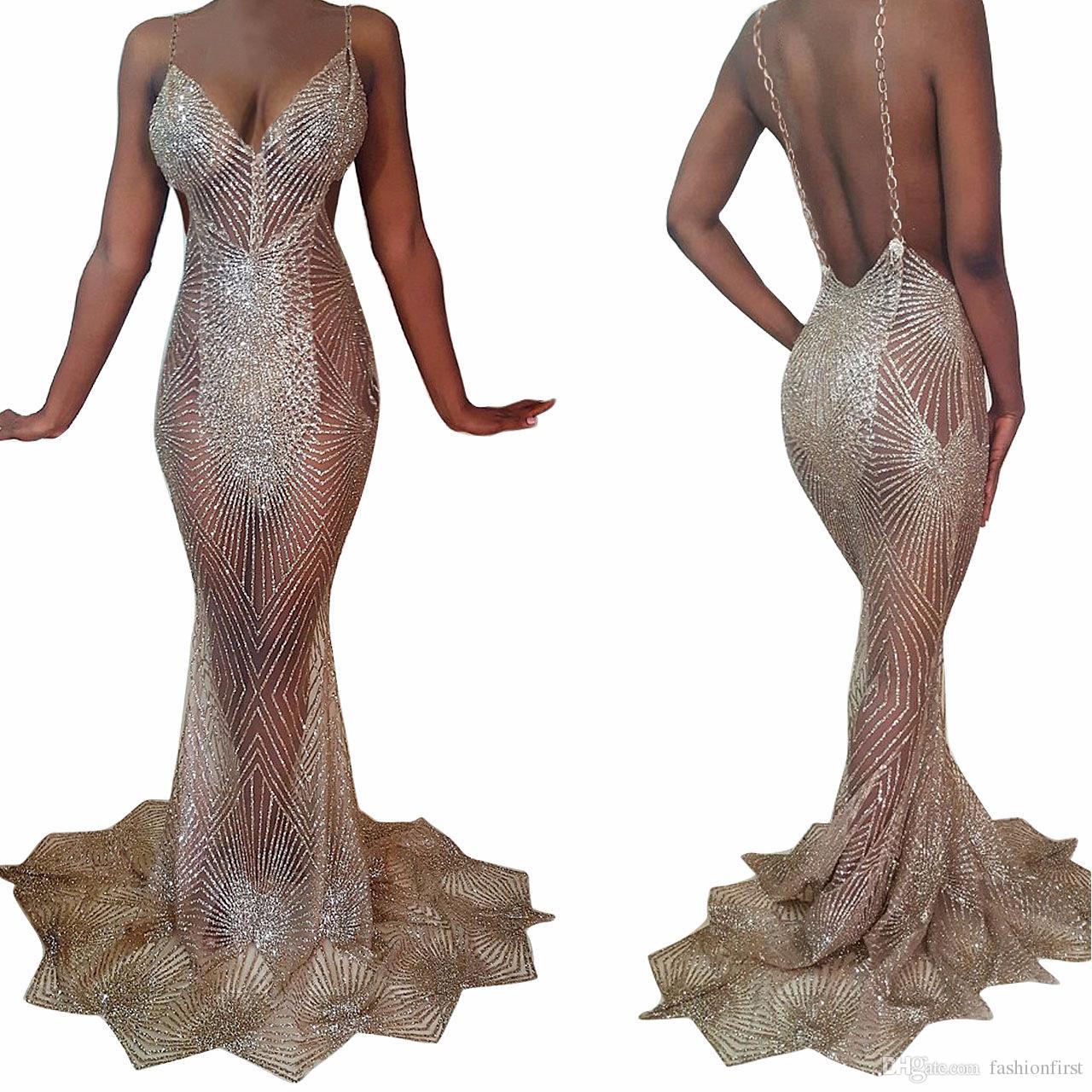 Sexy Women Maxi Dress Golden Metallic Sex Deep V Neck Backless ...