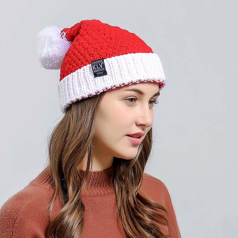 2019 Christmas Hats Adults Women Santa Claus Xmas Christmas Hats Soft  Knitted Wool Patchwork Cap From Fwuyun de9e0b3614