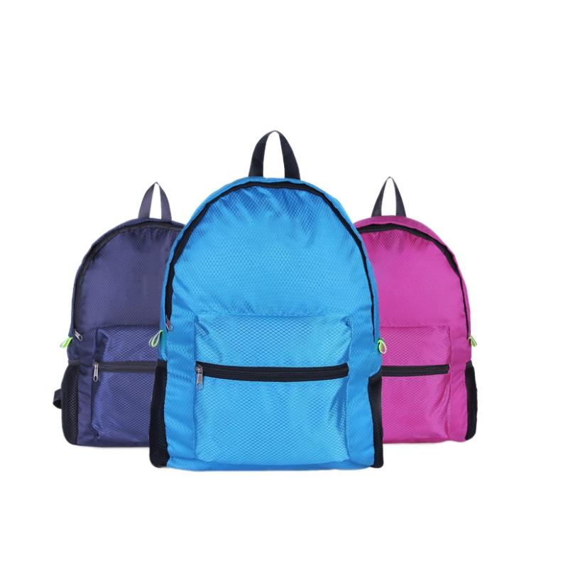 Camping & Hiking Double Shoulder Backpack Diamond Pattern Large Capacity Nylon Lightweight Folding Waterproof Breathable Gym Bag Sportswear Acces Numerous In Variety